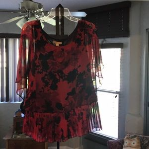 Beautiful red rose with black accent fabric blouse